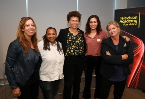Women in Film's Kirsten Schaffer poses with directors Tina Mabry, Anya Adams, Carmen Marron and Dennie Gordon, at the panel Directing for Television: Women Calling the Shots during the Television Academy Foundation's 2019 Faculty Seminar Conference, Monday, Nov. 4, 2019 at the Academy's Saban Media Center in Los Angeles. (Photo by Mark Von Holden/Invision for The Television Academy/AP Images)
