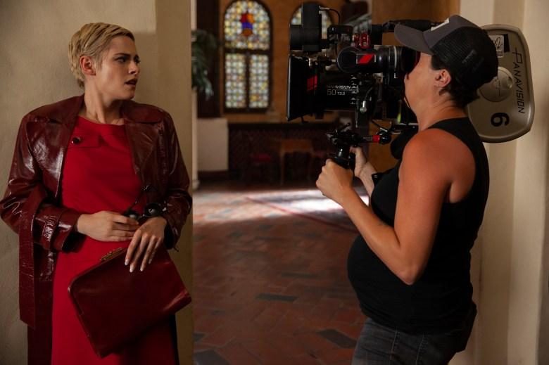 """Kristen Stewart and Cinematographer Rachel Morrison shooting """"Seberg"""""""