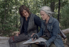 Norman Reedus as Daryl Dixon, Melissa McBride as Carol Peletier - The Walking Dead _ Season 10, Episode 6 - Photo Credit: Jace Downs/AMC