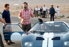 Matt Damon, James Mangold and Christian Bale on the set of Twentieth Century Fox's FORD V FERRARI.