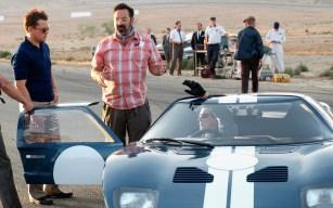 Matt Damon, James Mangold and Christian Bale on the set of Twentieth Century Fox's FORD V FERRARI.