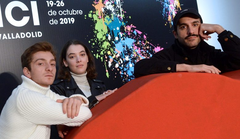 Film director Levan Akin (R) poses with actors Ana Javakishvili (C) and Levan Gelbakhiani during the presentation of the film 'And then we Dance' at the 64th edition of the Seminci International Film Festival held in Valladolid, Spain, 20 October 2019.Seminci International FIlm Festival, Valladolid, Spain - 20 Oct 2019