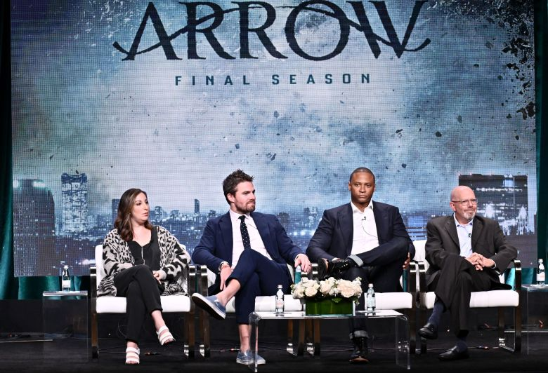 Beth Schwartz, Stephen Amell, David Ramsey, and Marc Guggenheim