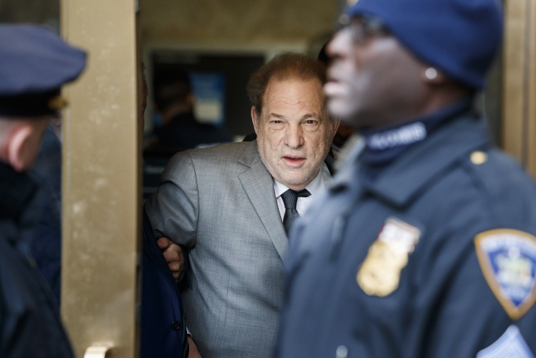 Former movie producer Harvey Weinstein (C) departs New York State Supreme Court following a bail hearing related to his upcoming trial on charges of rape and sexual assault at in New York, New York, USA, 06 December 2019. Weinstein's trial is scheduled to start early next month.Harvey Weinstein Court Hearing, New York, USA - 06 Dec 2019
