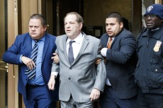 Former movie producer Harvey Weinstein (2-L) departs New York State Supreme Court following a bail hearing related to his upcoming trial on charges of rape and sexual assault at in New York, New York, USA, 06 December 2019. Weinstein's trial is scheduled to start early next month.Harvey Weinstein Court Hearing, New York, USA - 06 Dec 2019