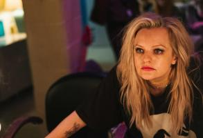 "Elisabeth Moss plays Becky Something, a punk singer struggling with substance abuse, in the new film Her Smell. ""It was the hardest dialogue I've ever had to learn,"" she says"