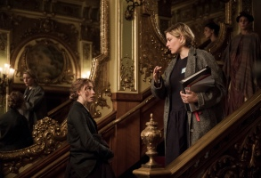 BTS:  Jo March (Saoirse Ronan)  Director/Writer Greta Gerwig on the set of Greta Gerwig's LITTLE WOMEN.