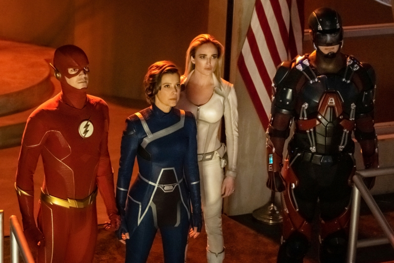 "Grant Gustin, Audrey Marie Anderson, Caity Lotz, and Brandon Routh, ""Crisis on Infinite Earths"""