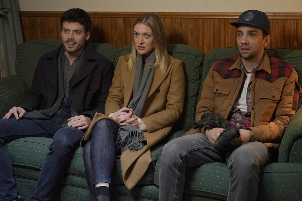 THE MOODYS: L-R: Francois Arnaud, Chelsea Frei and Jay Baruchel in the all-new holiday-themed comedy THE MOODYS, airing over three nights, with back-to-back episodes, beginning Wednesday, Dec. 4 (9:00-9:30 PM ET/PT and 9:30-10:00 PM ET/PT) on FOX. The series continues the following week with back-to-back episodes on Monday, Dec. 9 (9:00-9:30 PM ET/PT and 9:30-10:00 PM ET/PT) and Tuesday, Dec. 10 (9:00-9:30 PM ET/PT and 9:30-10:00 PM ET/PT). © 2019 FOX MEDIA LLC. Cr: Jonathan Wenk/FOX.