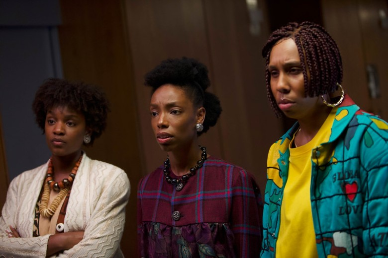 Yaani King Mondschein, Elle Lorraine, and Lena Waithe appears in Bad Hair by Justin Simien, an official selection of the Midnight program at the 2020 Sundance Film Festival. Courtesy of Sundance Institute.rrAll photos are copyrighted and may be used by press only for the purpose of news or editorial coverage of Sundance Institute programs. Photos must be accompanied by a credit to the photographer and/or 'Courtesy of Sundance Institute.' Unauthorized use, alteration, reproduction or sale of logos and/or photos is strictly prohibited.
