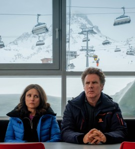 Julia Louis-Dreyfus and Will Ferrel appear in <i>Downhill</i> by Jim Rash and Nat Faxon, an official selection of the Premieres program at the 2020 Sundance Film Festival. Courtesy of Sundance Institute.rrAll photos are copyrighted and may be used by press only for the purpose of news or editorial coverage of Sundance Institute programs. Photos must be accompanied by a credit to the photographer and/or 'Courtesy of Sundance Institute.' Unauthorized use, alteration, reproduction or sale of logos and/or photos is strictly prohibited.