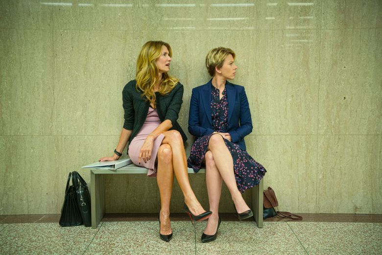 Editorial use only. No book cover usage.Mandatory Credit: Photo by Wilson Webb/Netflix/Kobal/Shutterstock (10509382j)Laura Dern as Nora Fanshaw and Scarlett Johansson as Nicole'Marriage Story' Film - 2019Noah Baumbach's incisive and compassionate look at a marriage breaking up and a family staying together.