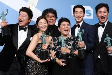 Kang-Ho Song, Bong Joon-ho, So-dam Park, Jeong-eun Lee, Sun-kyun Lee and Woo-sik Choi - Outstanding Performance by a Cast in a Motion Picture - Parasite26th Annual Screen Actors Guild Awards, Press Room, Shrine Auditorium, Los Angeles, USA - 19 Jan 2020