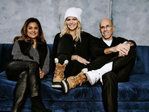 Veena Sud, Kaitlin Olson and Jeffrey Katzenberg - QuibiDeadline Sundance Studio presented by Hyundai, Day 1, Park City, USA - 24 Jan 2020