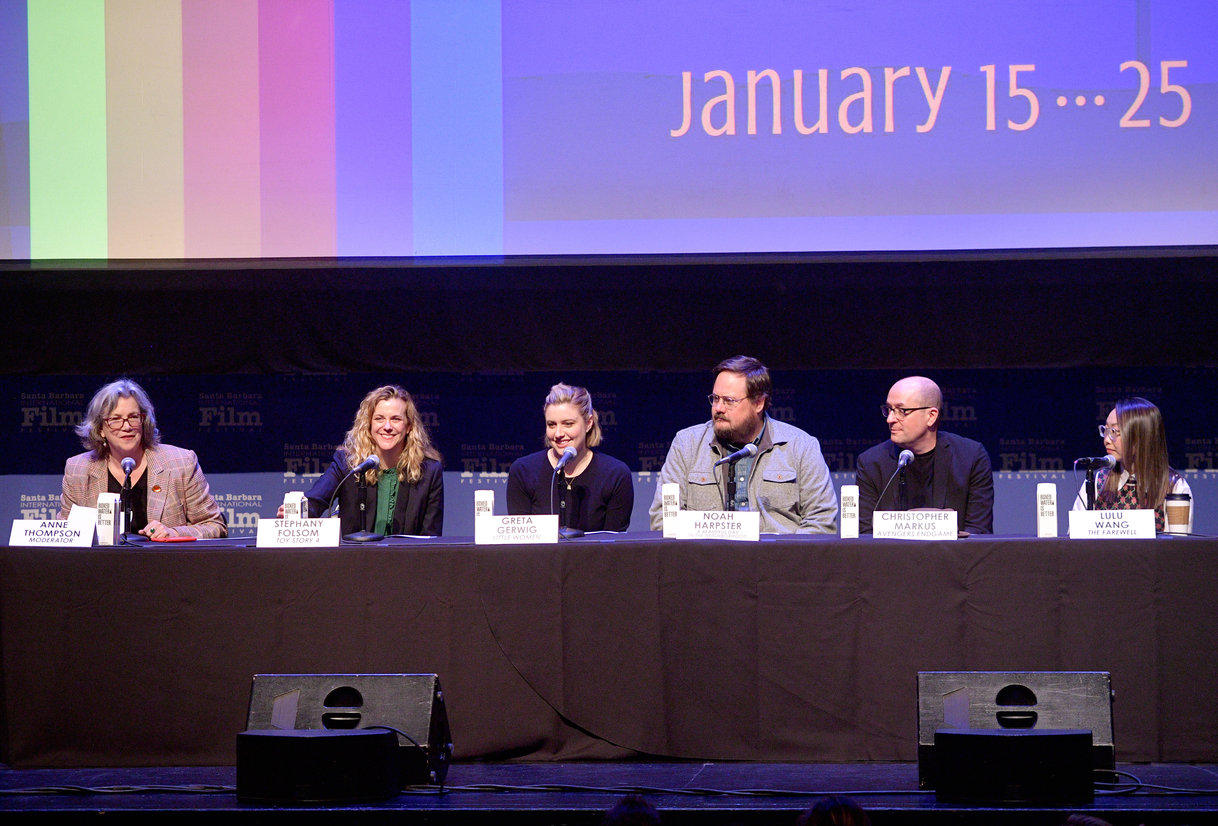 SANTA BARBARA, CALIFORNIA - JANUARY 19: Anne Thompson, Stephany Folsom, Greta Gerwig, Noah Harpster, Christopher Markus and Lulu Wang speak onstage at the Writers Panel during the 35th Santa Barbara International Film Festival at the Lobero Theatre on January 19, 2020 in Santa Barbara, California. (Photo by Matt Winkelmeyer/Getty Images for SBIFF)