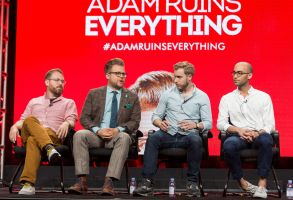 "Sam Reich, from left, Adam Conover, Travis Helwig, and Jon Wolf participate in the Tru TV ""Adam Ruins Everything"" panel during the Turner Networks TV Television Critics Association summer press tour, in Beverly Hills, Calif2016 Summer TCA - TNT, Beverly Hills, USA"