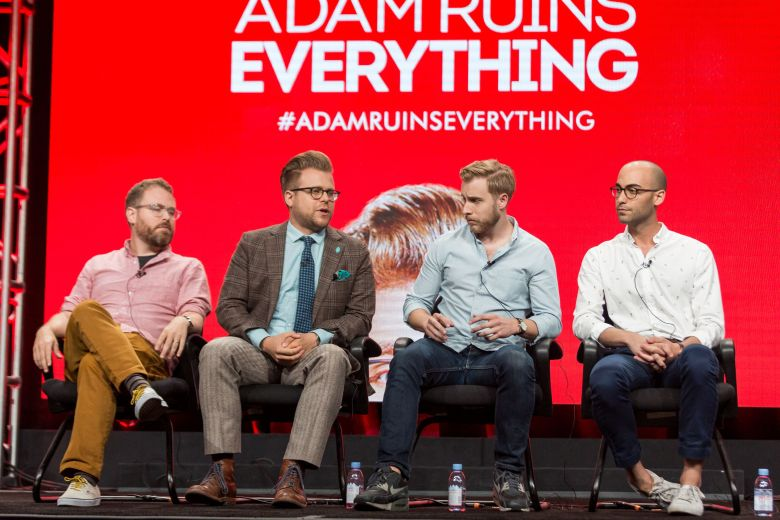 """Sam Reich, from left, Adam Conover, Travis Helwig, and Jon Wolf participate in the Tru TV """"Adam Ruins Everything"""" panel during the Turner Networks TV Television Critics Association summer press tour, in Beverly Hills, Calif2016 Summer TCA - TNT, Beverly Hills, USA"""