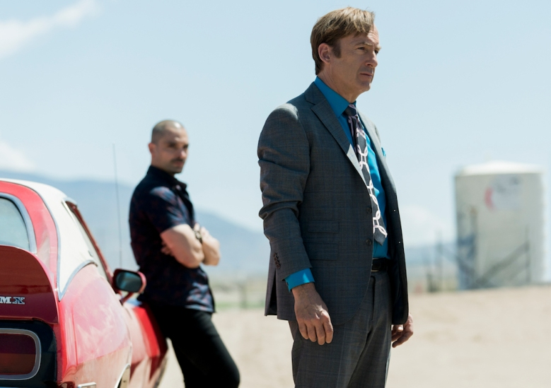 Bob Odenkirk as Jimmy McGill, Michael Mando as Nacho Varga - Better Call Saul _ Season 5 - Photo Credit: Greg Lewis/AMC/Sony Pictures Television