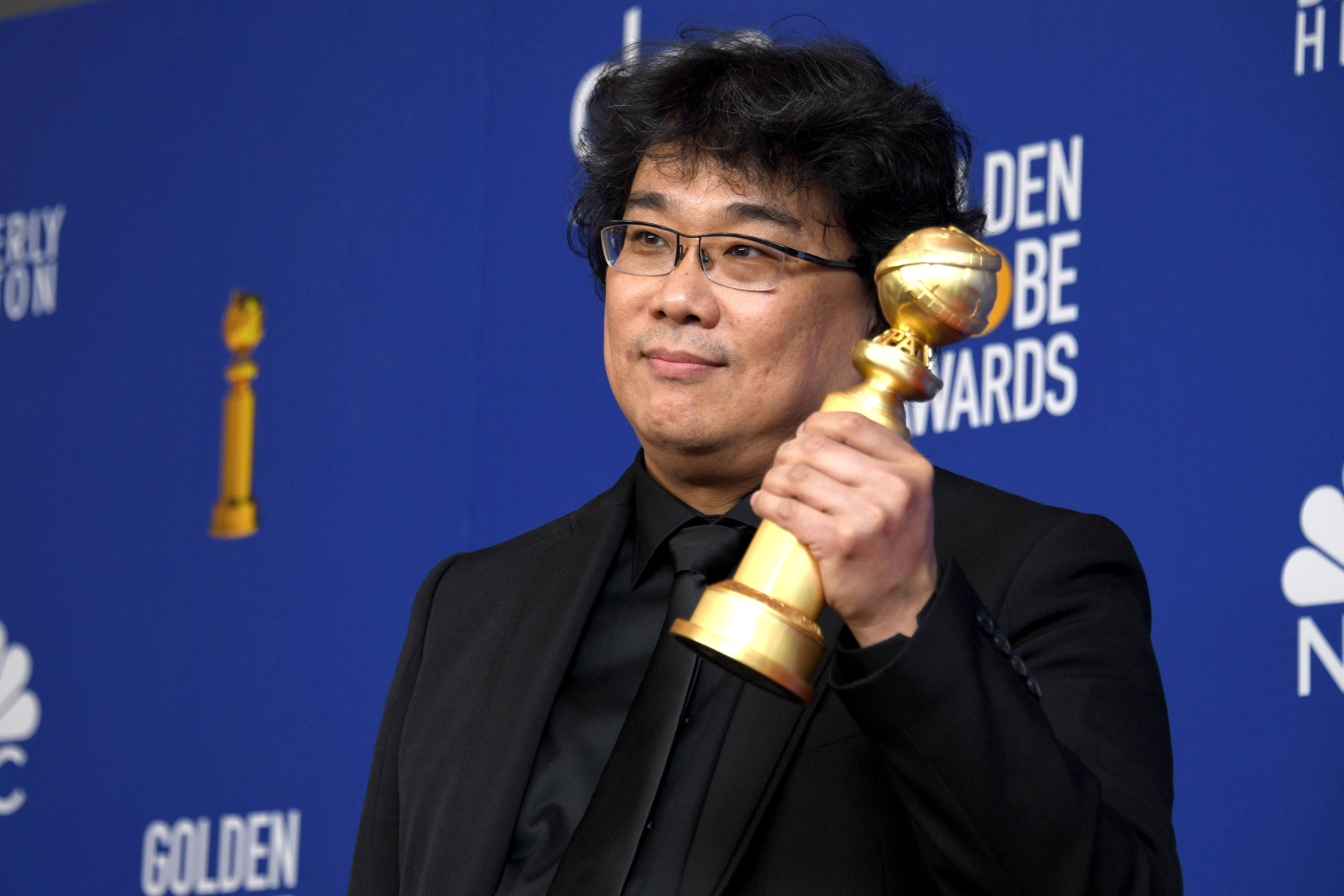 Bong Joon-ho holds the award for Best Motion Picture - Foreign Language for 'Parasite' in the press room during the 77th annual Golden Globe Awards ceremony at the Beverly Hilton Hotel, in Beverly Hills, California, USA, 05 January 2020.Press Room - 77th Golden Globe Awards, Beverly Hills, USA - 05 Jan 2020