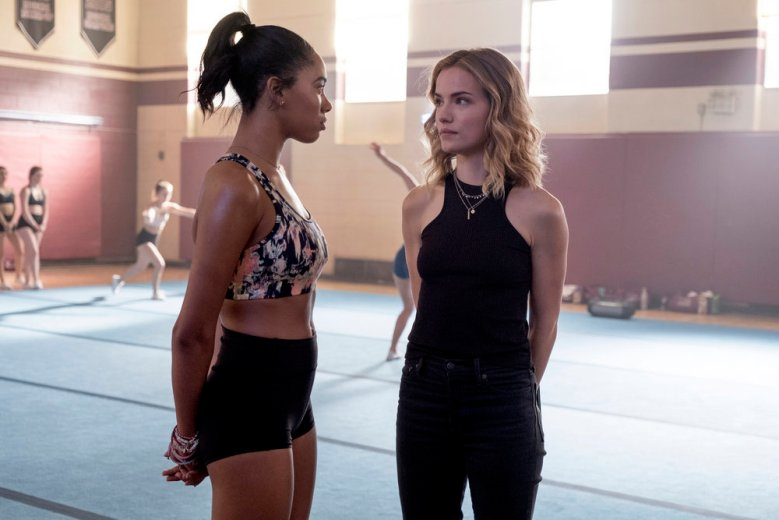 "DARE ME -- ""Mutually Assured Distruction"" Episode 102 -- Pictured: (l-r) Herizen Guardiola as Addy Hanlon, Willa Fitzgerald as Collette French -- (Photo by: Rafy/USA Network)"