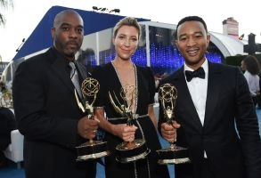 Mike Jackson,Ty Stiklorius, John Legend. Mike Jackson, from left, Ty Stiklorius, and John Legend attend the Governors Ball during night two of the Television Academy's 2018 Creative Arts Emmy Awards at the Microsoft Theater, in Los Angeles2018 Creative Arts Emmy Awards - Governors Ball - Night Two, Los Angeles, USA - 09 Sep 2018