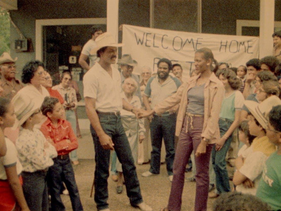 "Peter Metoyer (Richard Romain) and Maria Mathis (Tommye Myrick) in Horace Jenkins' ""Cane River,"" 1982"
