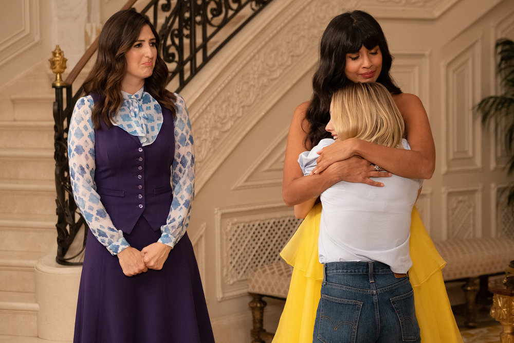 "THE GOOD PLACE -- ""Whenever You're Ready"" Episode 413/414 -- Pictured: (l-r) D'Arcy Carden as Janet, Jameela Jamil as Tahani, Kristen Bell as Eleanor -- (Photo by: Colleen Hayes/NBC)"