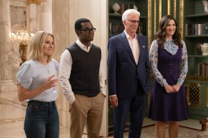"""THE GOOD PLACE -- """"Whenever You're Ready"""" Episode 413/414 -- Pictured: (l-r) Kristen Bell as Eleanor, William Jackson Harper as Chidi, Ted Danson as Michael, D'Arcy Carden as Janet -- (Photo by: Colleen Hayes/NBC)"""