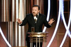 77th ANNUAL GOLDEN GLOBE AWARDS -- Pictured: Ricky Gervais at the 77th Annual Golden Globe Awards held at the Beverly Hilton Hotel on January 5, 2020 -- (Photo by: Paul Drinkwater/NBC)