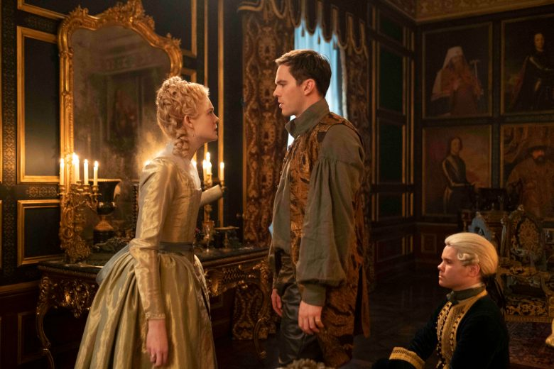 The Great -- Episode 105 -  The Great is a genre bending, anti-historical ride through 18th Century Russia following the wildly comic rise of Catherine the Nothing to Catherine the Great. Catherine (Elle Fanning) and Peter (Nicholas Hoult), shown. (Photo by: Ollie Upton/Hulu)