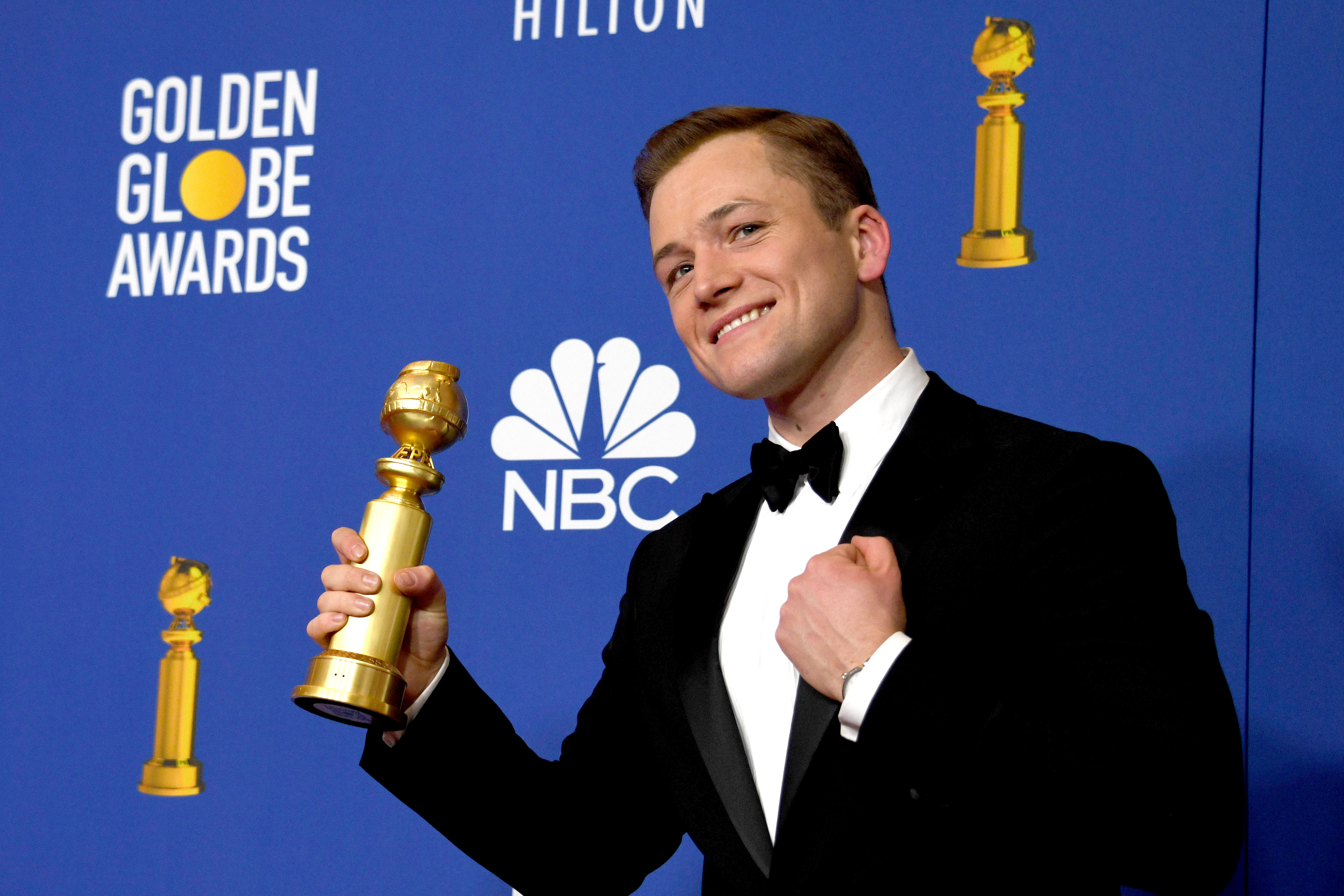 Taron Egerton holds the award for Best Performance by an Actor in a Motion Picture - Musical or Comedy for 'Rocket Man' in the press room during the 77th annual Golden Globe Awards ceremony at the Beverly Hilton Hotel, in Beverly Hills, California, USA, 05 January 2020.Press Room - 77th Golden Globe Awards, Beverly Hills, USA - 05 Jan 2020