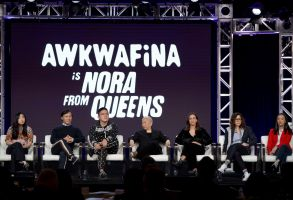 "Awkwafina, BD Wong, Bowen Yang, Lori Tan Chinn, Lucia Aniello, Karey Dornetto, Teresa Hsiao. Awkwafina, from left, BD Wong, Bowen Yang, Lori Tan Chinn, Lucia Aniello, Karey Dornetto and Teresa Hsiao speak at the ""Akwafina is Nora from Queens"" panel during the Comedy Central TCA 2020 Winter Press Tour at the Langham Huntington, in Pasadena, Calif2020 Winter TCA - Viacom/Amazon/Starz, Pasadena, USA - 14 Jan 2020"