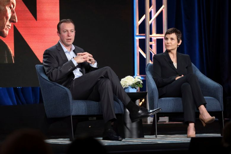 Marc DeBoise, Julie McNamara. Chief Digital Officer, ViacomCBS, and CEO and President, CBS Interactive, Marc DeBoise, left, and Executive Vice President, Original Content, CBS All Access, Julie McNamara speak at the Executive Presentation during the CBS TCA Winter 2020 Press Tour at the Langham Huntington Hotel, in Pasadena, Calif2020 Winter TCA - CBS, Pasadena, USA - 12 Jan 2020