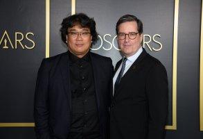 Bong Joon Ho with Academy president David Rubin