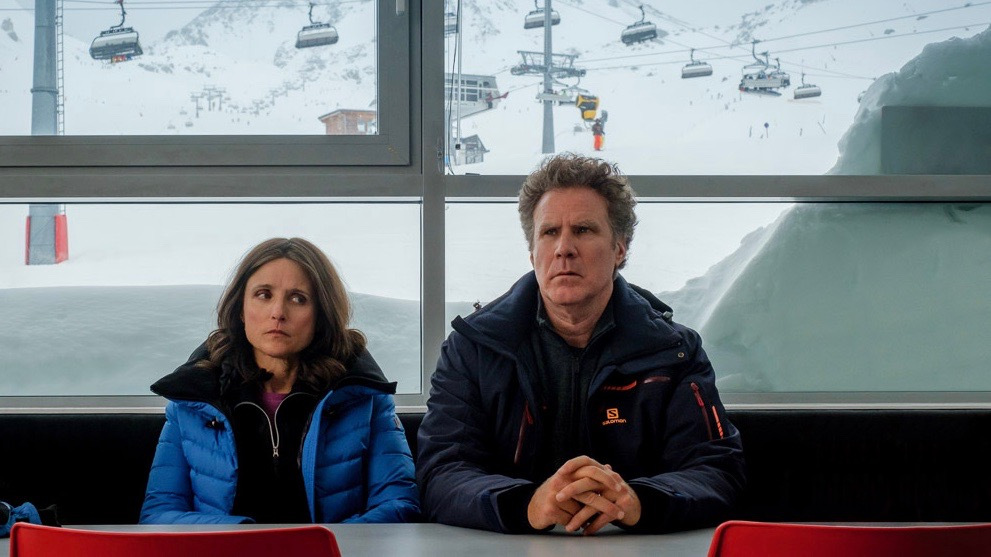 Julia Louis-Dreyfus and Will Ferrell in the film DOWNHILL. Photo by Jaap Buitendijk. © 2020 Twentieth Century Fox Film Corporation All Rights Reserved