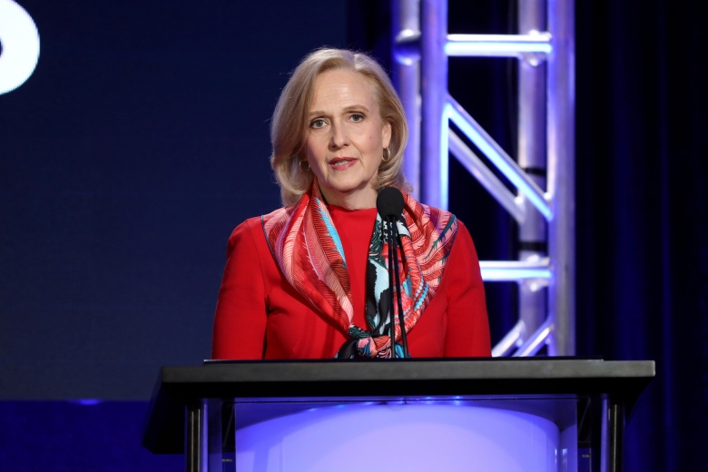 Paula Kerger, President and CEO at PBS speaks at the executive session during the PBS Winter 2020 TCA Press Tour at The Langham Huntington, Pasadena, in Pasadena, Calif2020 Winter TCA - PBS, Pasadena, USA - 10 Jan 2020
