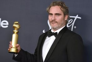 """Joaquin Phoenix, winner of the award for best performance by an actor in a motion picture drama for """"Joker"""", arrives at the InStyle and Warner Bros. Golden Globes afterparty at the Beverly Hilton Hotel, in Beverly Hills, Calif77th Annual Golden Globe Awards - InStyle and Warner Bros. Afterparty, Beverly Hills, USA - 05 Jan 2020"""