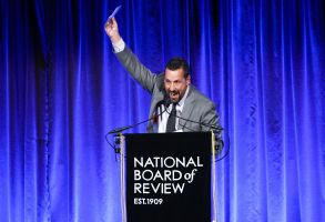 """Adam Sandler accepts the best actor award for """"Uncut Gems"""" at the National Board of Review Awards gala at Cipriani 42nd Street, in New York2020 National Board of Review Awards Gala, New York, USA - 08 Jan 2020"""