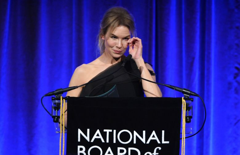 """Renee Zellweger accepts the best actress award for """"Judy,"""" at the National Board of Review Awards gala at Cipriani 42nd Street, in New York2020 National Board of Review Awards Gala, New York, USA - 08 Jan 2020"""