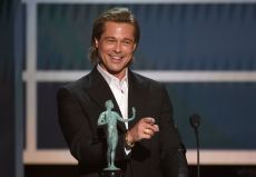"Brad Pitt accepts the award for outstanding performance by a male actor in a supporting role for ""Once Upon a Time in Hollywood"" at the 26th annual Screen Actors Guild Awards at the Shrine Auditorium & Expo Hall, in Los Angeles26th Annual SAG Awards - Show, Los Angeles, USA - 19 Jan 2020"