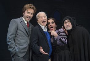 Editorial use onlyMandatory Credit: Photo by Alastair Muir/Shutterstock (9119635ac)Hadley Fraser Mel Brooks Lesley Joseph Ross Noble'Young Frankenstein' Musical by Mel Brooks performed at the Garrick Theatre, London, UK, 05 Oct 2017