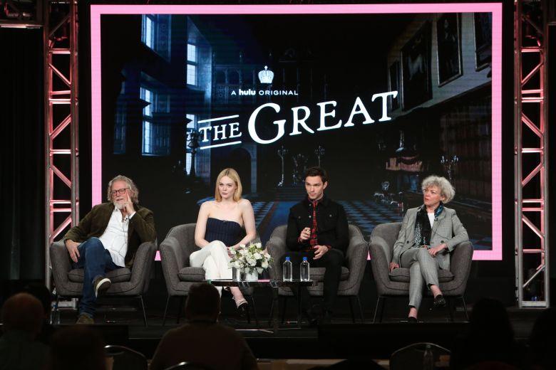 Tony McNamara, Elle Fanning, Nicholas Hoult and Marian MacGowan'The Great' TV Show, HULU, TCA Winter Press Tour, Panels, Los Angeles, USA - 17 Jan 2020