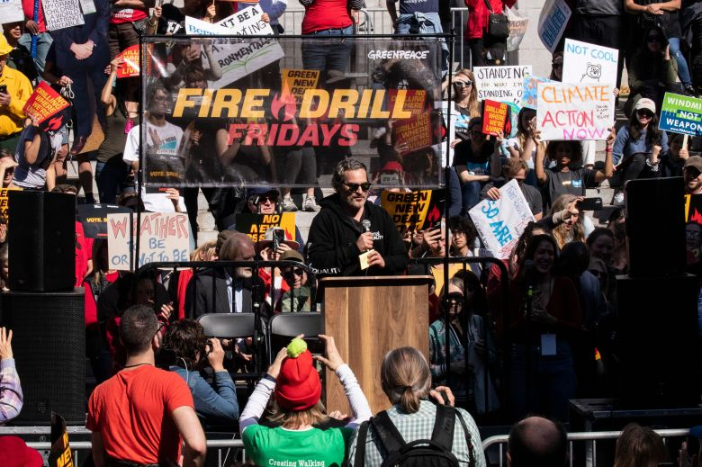 Joaquin Phoenix participates in the Fire Drill Friday climate change rally at downtown City Hall Los Angeles, California, USA, 07 February 2020.Fire Drill Friday climate change rally in Los Angeles, USA