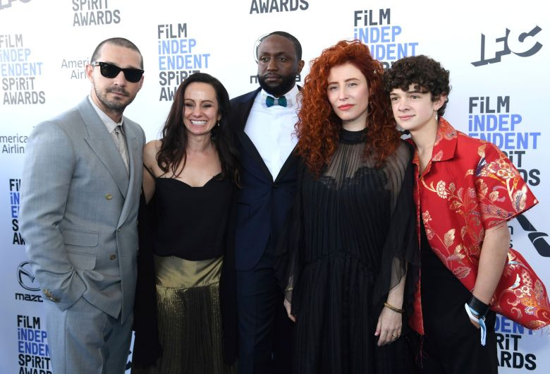 Shia LaBeouf, Natasha Braier, Byron Bowers, Alma Har'el, Noah Jupe. Shia LaBeouf, from left, Natasha Braier, Byron Bowers, Alma Har'el, and Noah Jupe arrive at the 35th Film Independent Spirit Awards, in Santa Monica, Calif2020 Film Independent Spirit Awards - Red Carpet, Santa Monica, USA - 08 Feb 2020