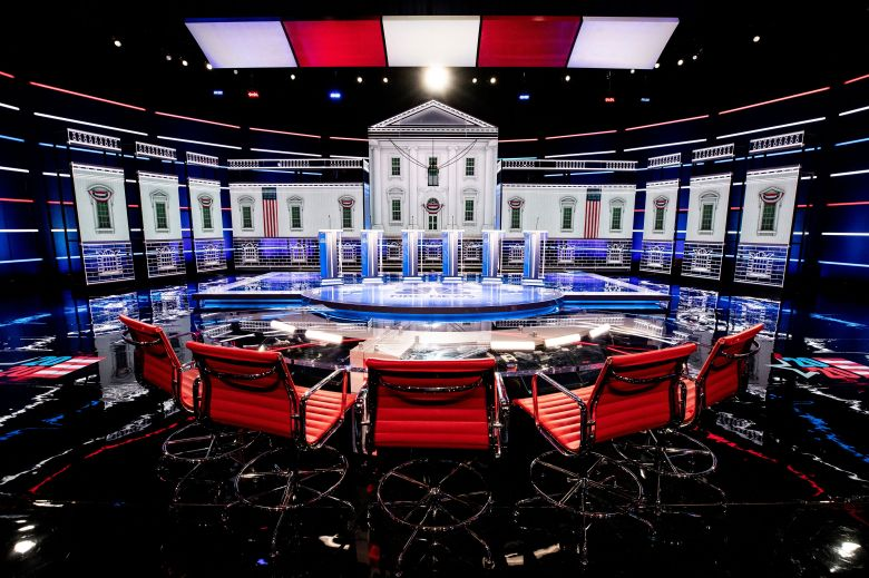 View of the debate stage ahead of the Democratic Debate at the Theater in the Paris Hotel and Casino in Las Vegas, Nevada, USA, 18 February 2020. The debate will be held on 19 February 2020.Las Vegas prepares for Democratic debate, USA - 18 Feb 2020