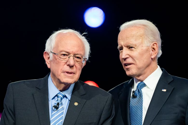 Democratic presidential candidates Bernie Sanders (L) and Joe Biden (R) chat on stage during the tenth Democratic presidential debate at the Gaillard Center in Charleston, South Carolina, USA, 25 February, 2020. The South Carolina primary is scheduled for 29 February 2020.Democratic presidential candidates debate in South Carolina, Charleston, USA - 25 Feb 2020