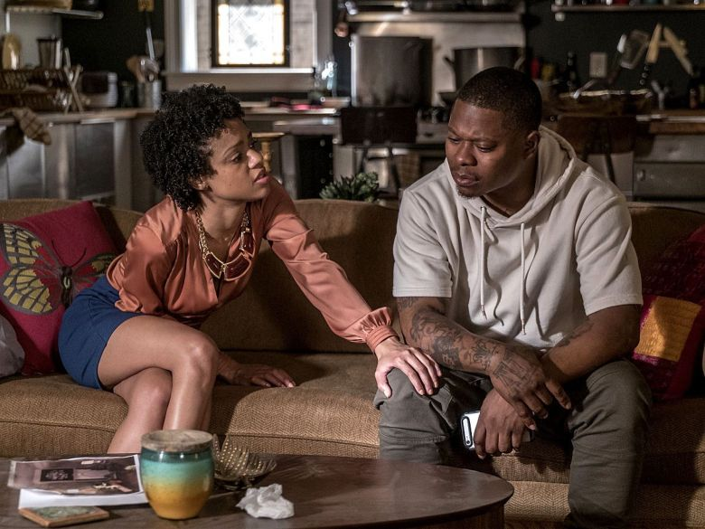 """Editorial use only. No book cover usage.Mandatory Credit: Photo by Kobal/Shutterstock (9335549g)Tiffany Boone, Jason Mitchell""""The Chi"""" (Season 1) TV Series - 2018"""