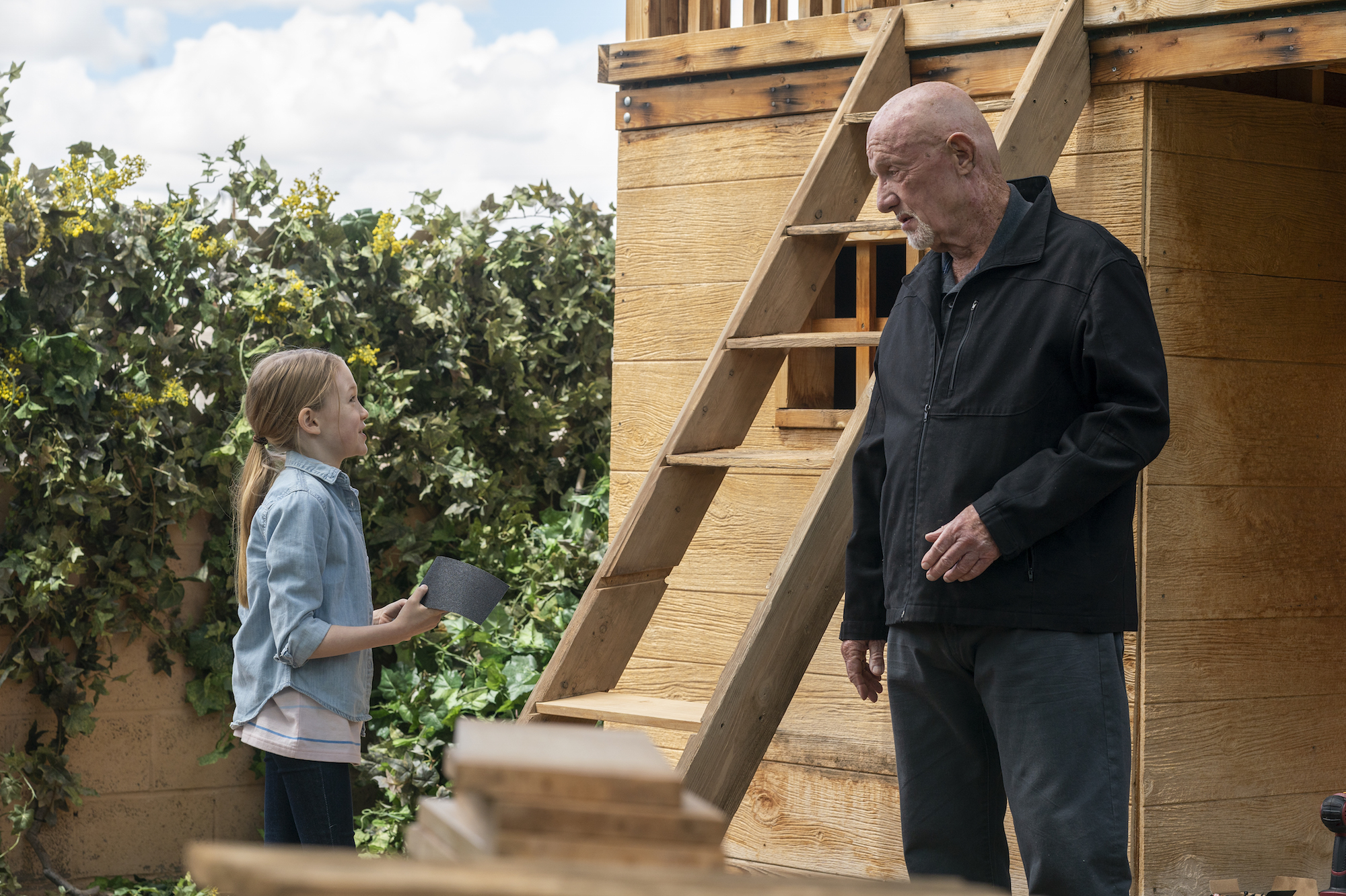 Jonathan Banks as Mike Ehrmantraut, Juliet Donenfeld as Kaylee - Better Call Saul _ Season 5, Episode 2 - Photo Credit: Warrick Page/AMC/Sony Pictures Television
