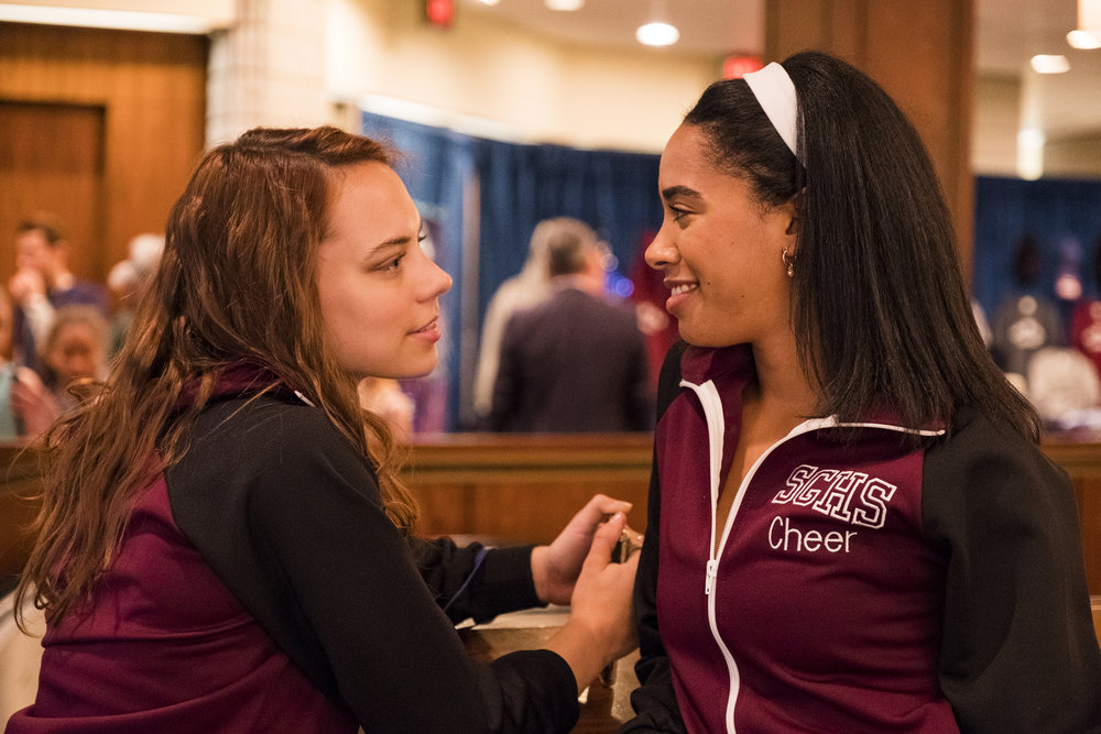 """DARE ME -- """"Scorched Earth"""" Episode 107 -- Pictured: (l-r) Marlo Kelly as Beth Cassidy, Herizen Guardiola as Addy Hanlon -- (Photo by: Rafy/USA Network)"""