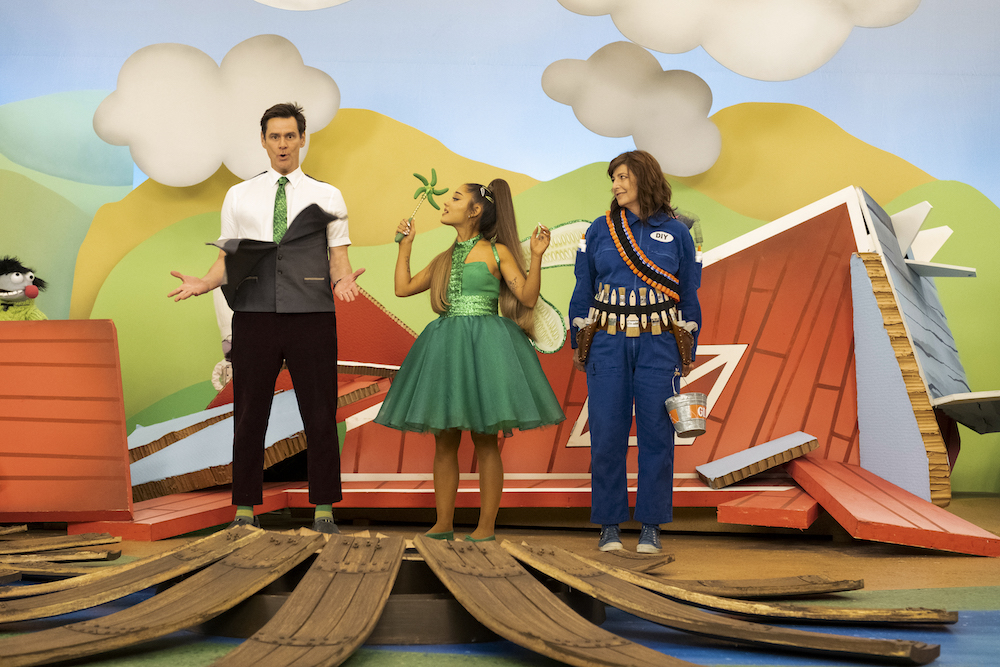 "(L-R): Jim Carrey as Jeff Pickles, Ariana Grande as Piccola Grande and Catherine Keener as Deirdre in KIDDING, ""3101"". Photo Credit: Beth Corey Dubber/SHOWTIME."